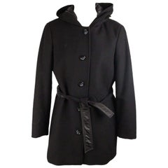 GEOX Black Wool Blend MID LENGHT JACKET Coat HOODED Size 44
