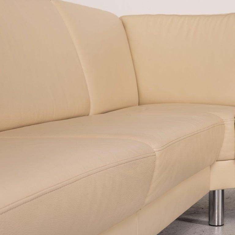 Contemporary Gepade Leather Sofa Cream Corner Sofa Couch For Sale