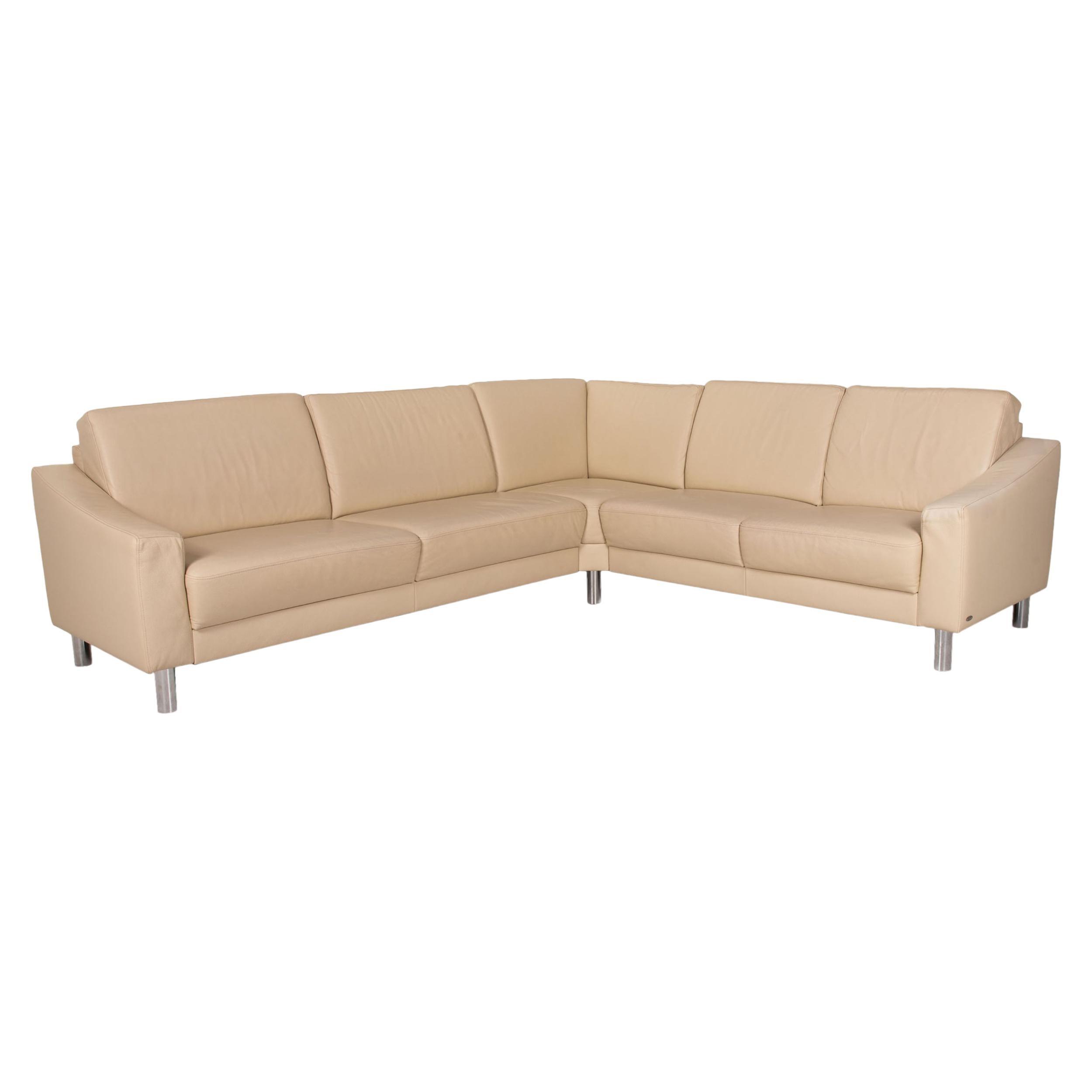 Gepade Leather Sofa Cream Corner Sofa Couch