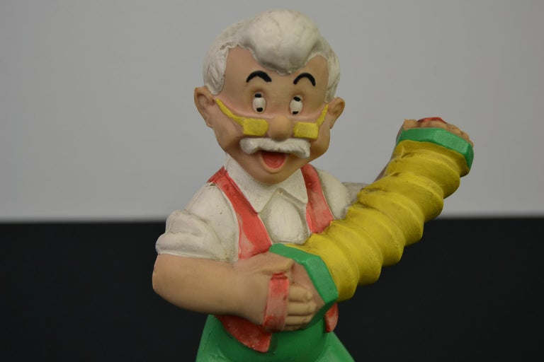 European Geppetto Pinocchio Rubber Squeaky Doll, Walt Disney Productions For Sale