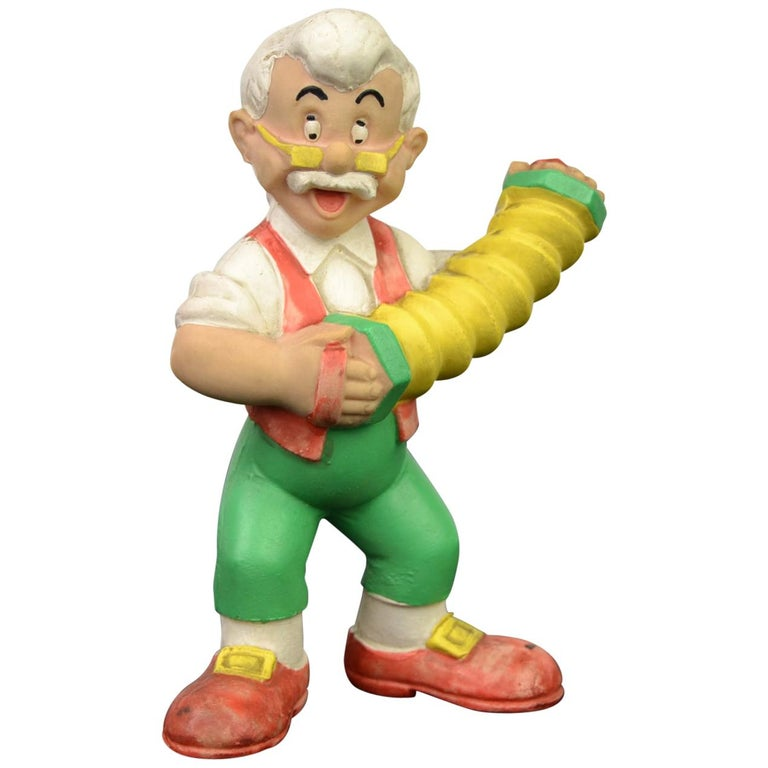 Geppetto Pinocchio Rubber Squeaky Doll, Walt Disney Productions For Sale