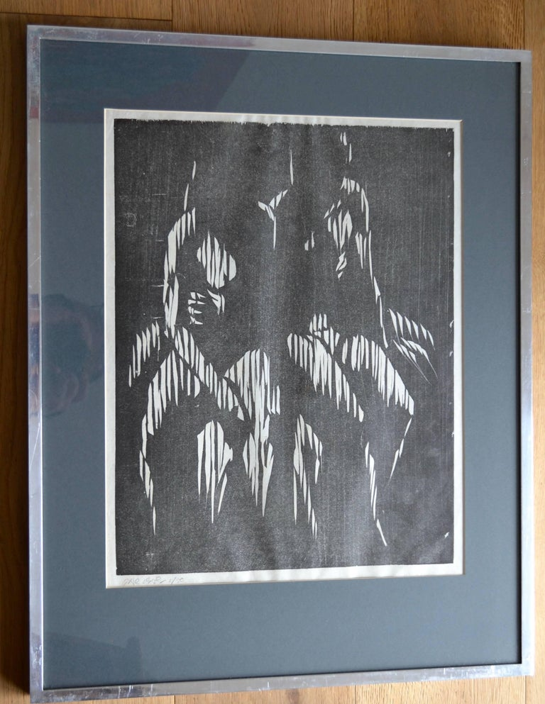 Two Seated Figures. Mid 20th Century Woodcut Print  - Gray Figurative Print by Gerald Anthony Coles