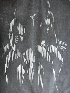 Two Seated Figures. Mid 20th Century Woodcut Print