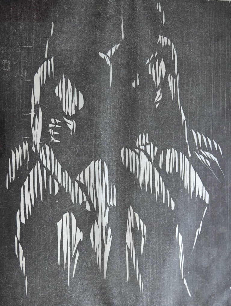 Gerald Anthony Coles Figurative Print - Two Seated Figures. Mid 20th Century Woodcut Print