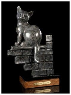 Gerald Balciar Bronze Full Round Sculpture Southern Exposure Cat Signed Artwork