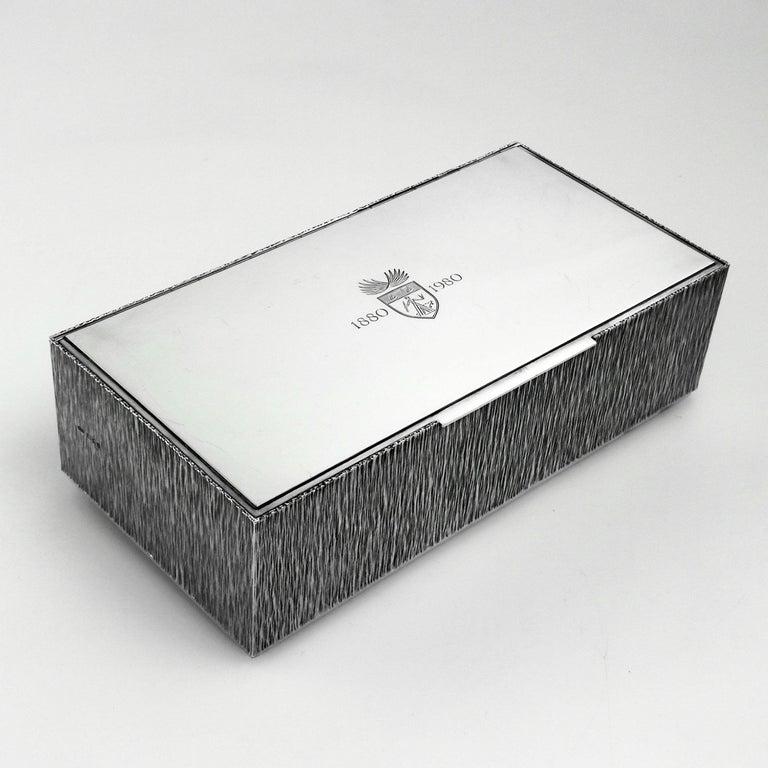 English Gerald Benney Sterling Silver Cigar Box / Cigarette Box 1981 For Sale