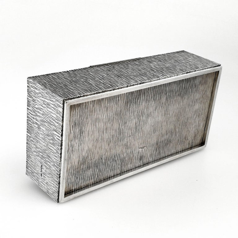 Gerald Benney Sterling Silver Cigar Box / Cigarette Box 1981 In Good Condition For Sale In London, GB