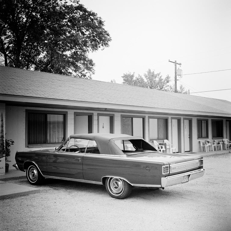 Gerald Berghammer, Ina Forstinger Landscape Photograph -  1967 Plymouth, Route 66, USA - Black and White fine art film photography
