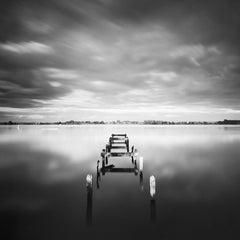 Abandoned Pier, Night, Ireland, minimalist black and white landscapes prints