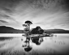 After the Sunset, Scotland, Mountain Lake, minimalist black and white landscapes