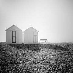Beach Huts, France, minimalist black and white fine art landscape photography
