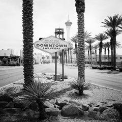 Downtown Las Vegas, Nevada, USA - black & white contemporary landscape art print
