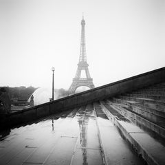 Eiffel Tower, Stairway Palais de Chaillot, Paris, black and white photography