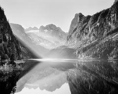 Illumination, Mountain Lake, Austria, black and white photography, landscape