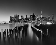 Manhattan Skyline, Night, New York City, black and white photography, landscape