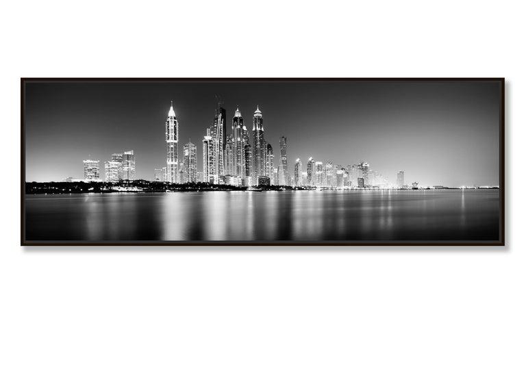 Marina Night Panorama, Dubai - Black and White Analogue Fine Art Photography For Sale 1