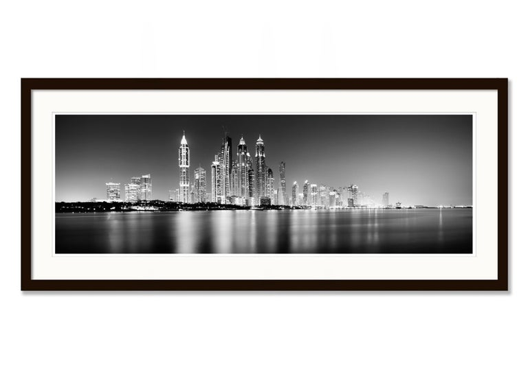 Marina Night Panorama, Dubai - Black and White Analogue Fine Art Photography For Sale 3