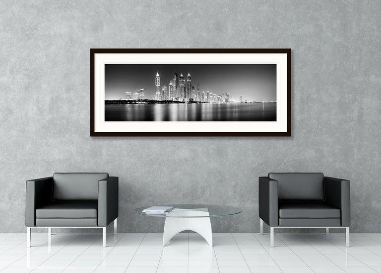 Marina Night Panorama, Dubai - Black and White Analogue Fine Art Photography For Sale 4