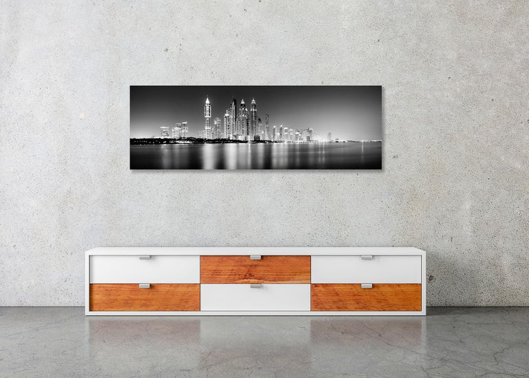Marina Night Panorama, Dubai - Black and White Analogue Fine Art Photography For Sale 5