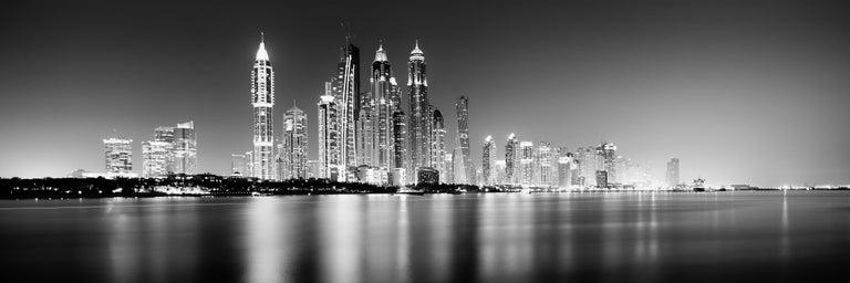 Gerald Berghammer, Ina Forstinger Black and White Photograph - Marina Night Panorama, Dubai - Black and White Analogue Fine Art Photography