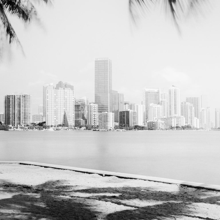 Miami Beach Skyline 1, Florida, USA - Black and White fine art film photography - Photograph by Gerald Berghammer, Ina Forstinger