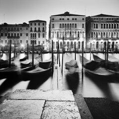 Morning Ritual Gondola Venice fine art black and white photography, landscapes