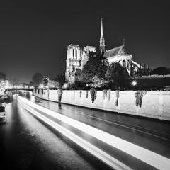 Notre Dame Night, Seine, Paris, black and white fine art photography, landscape