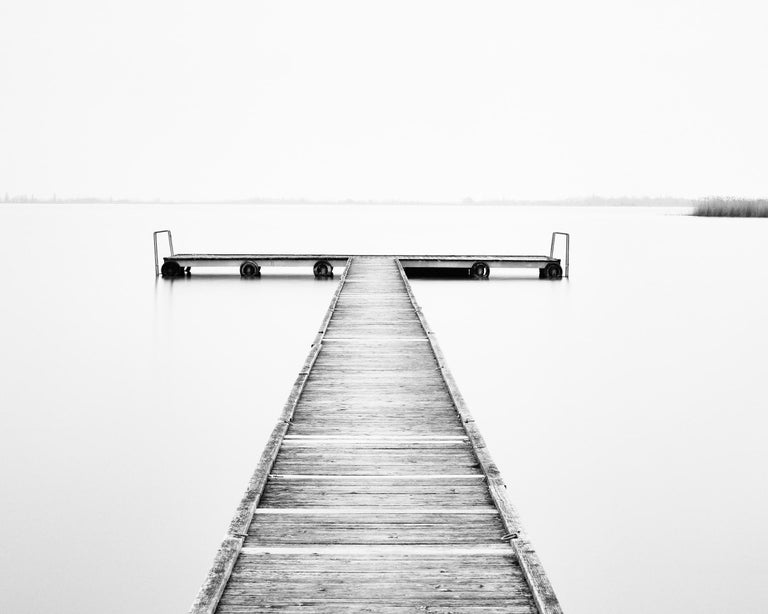 Pier Study 4, Austria 2015 - Black and White Long Exposure Fine Art Photography - Gray Black and White Photograph by Gerald Berghammer, Ina Forstinger