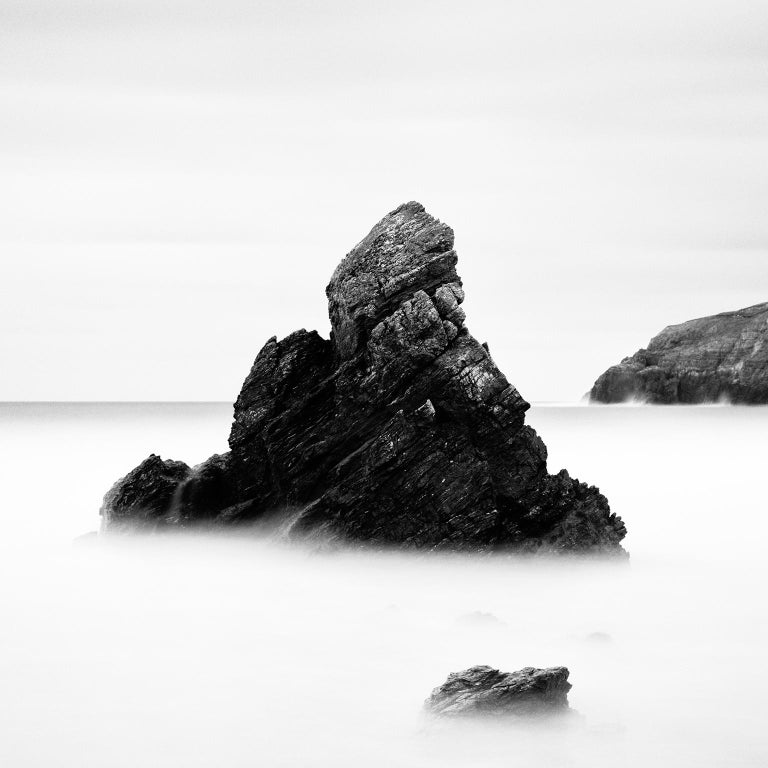 Sea Stack Study 2, Scotland - Black and White fine art seascapes photography - Photograph by Gerald Berghammer, Ina Forstinger