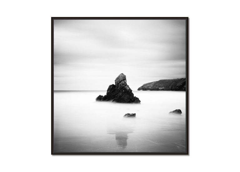 Sea Stack, Beach, Scotland, long exposure black and white photography landscapes - Photograph by Gerald Berghammer, Ina Forstinger