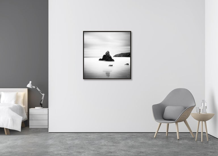Sea Stack, Beach, Scotland, long exposure black and white photography landscapes - Contemporary Photograph by Gerald Berghammer, Ina Forstinger