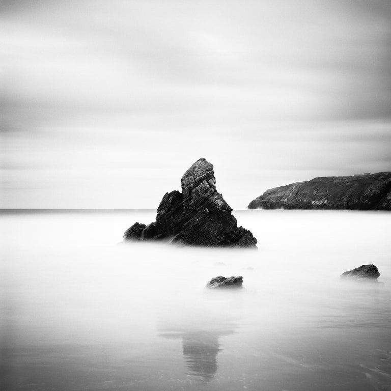 Gerald Berghammer, Ina Forstinger Landscape Photograph - Sea Stack, Beach, Scotland, long exposure black and white photography landscapes