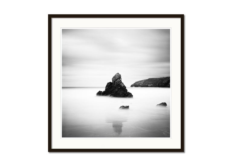 Sea Stack, Beach, Scotland, long exposure black and white photography landscapes - Gray Landscape Photograph by Gerald Berghammer, Ina Forstinger