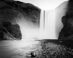 Skogafoss, Waterfall, Iceland, minimalist black and white landscape photography