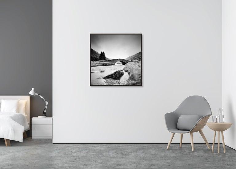 Stone Bridge, Scotland - Black and White long exposure fine art film photography - Gray Landscape Photograph by Gerald Berghammer, Ina Forstinger