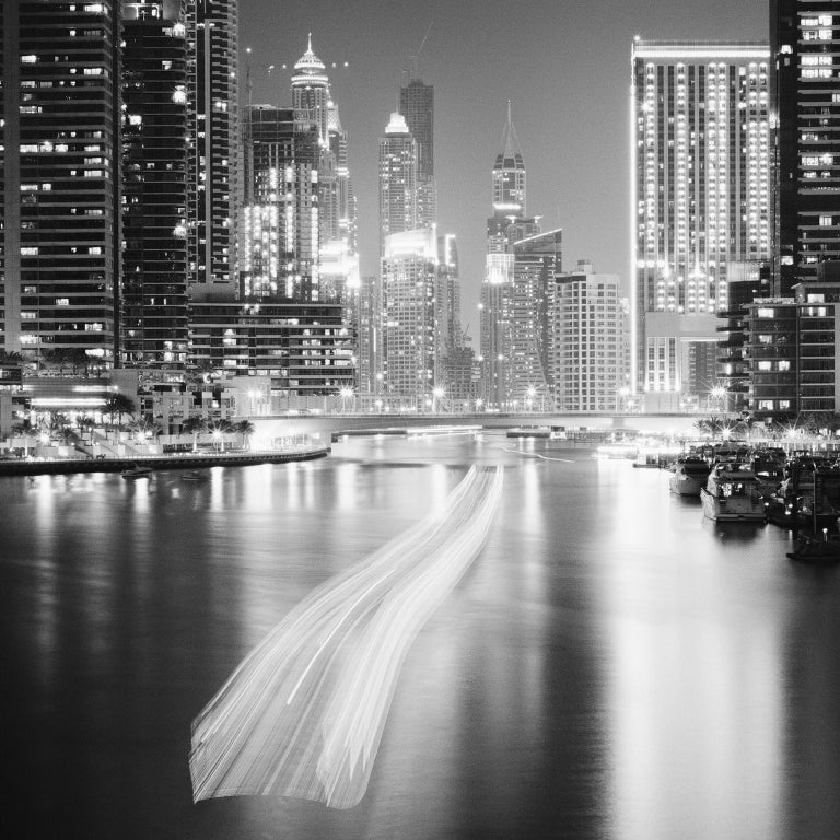 Stop and Go, Dubai Marina - Black and White fine art long exposure photography - Photograph by Gerald Berghammer, Ina Forstinger