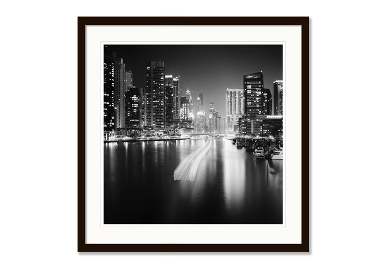 Stop and Go, Dubai Marina - Black and White fine art long exposure photography For Sale 1