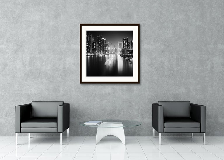 Stop and Go, Dubai Marina - Black and White fine art long exposure photography For Sale 2