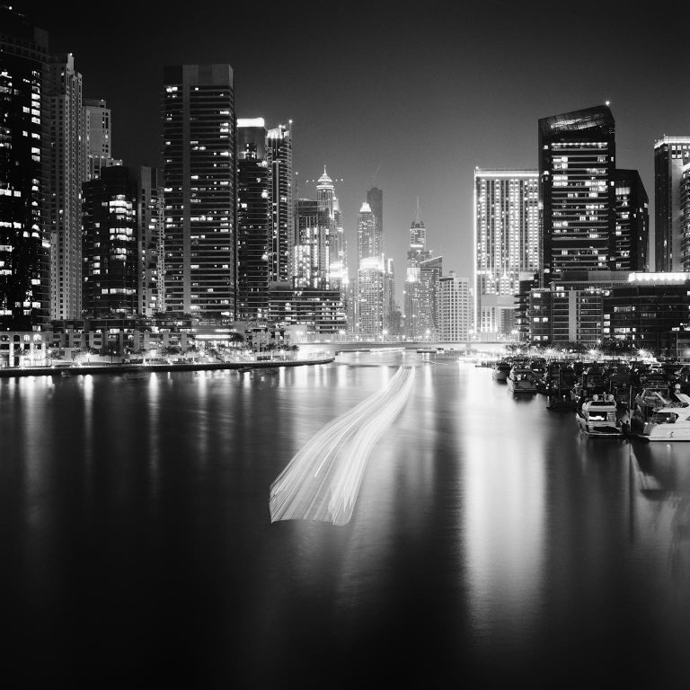 Gerald Berghammer, Ina Forstinger Landscape Photograph - Stop and Go, Dubai Marina - Black and White fine art long exposure photography