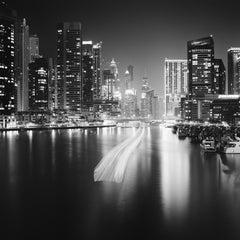 Stop and Go, Dubai Marina, Night black and white photography, landscapes prints