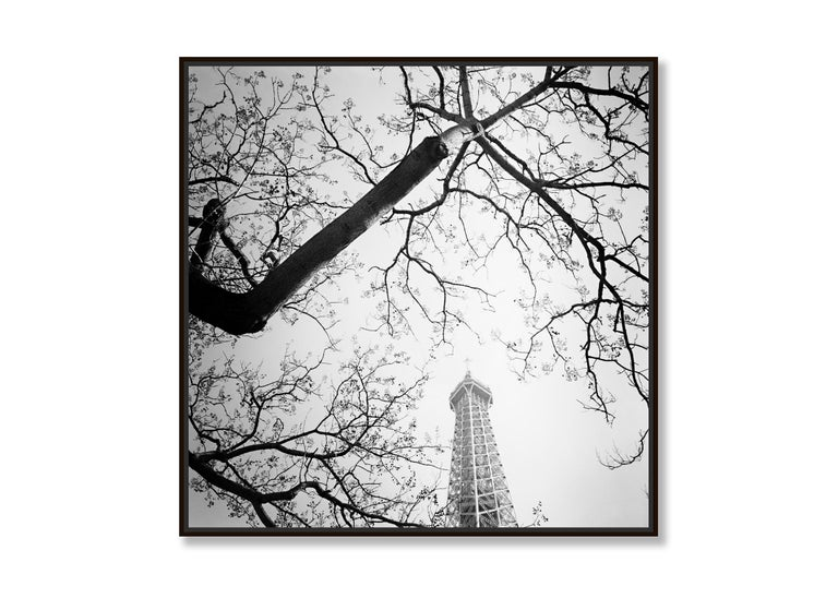 Tree and the Tower, Paris, France - Black and White cityscapes film photography - Minimalist Photograph by Gerald Berghammer, Ina Forstinger
