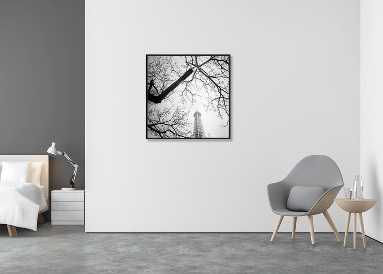 Tree and the Tower, Paris, France - Black and White cityscapes film photography - Gray Landscape Photograph by Gerald Berghammer, Ina Forstinger