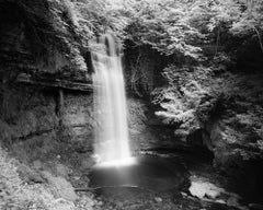 Waterfall, Ireland, black and white long exposure art photography, landscapes