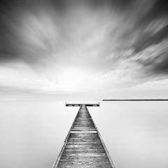 Winter Storm, Lake, Wood Pier, Austria, black and white photography, landscape