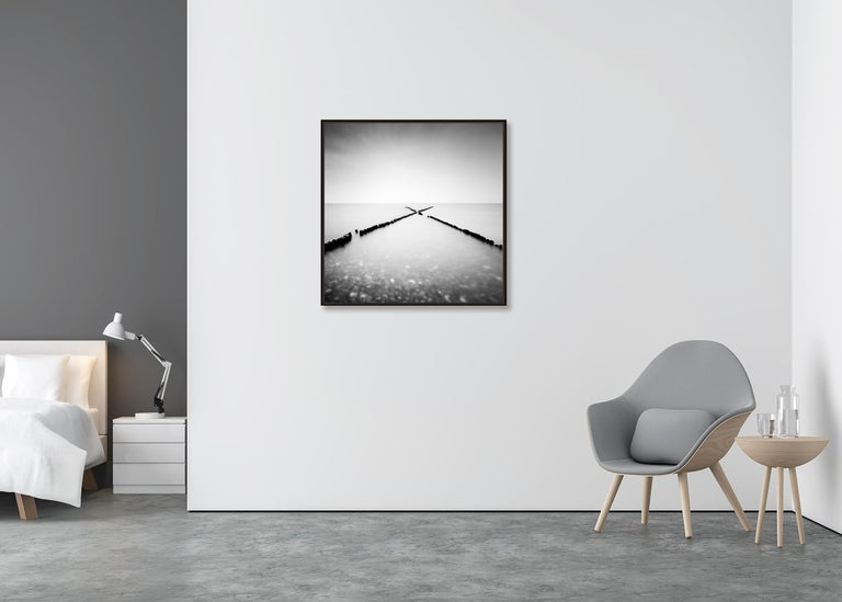 X - Factor, Rügen, Germany - Black and White long exposure fine art photography - Gray Landscape Photograph by Gerald Berghammer, Ina Forstinger
