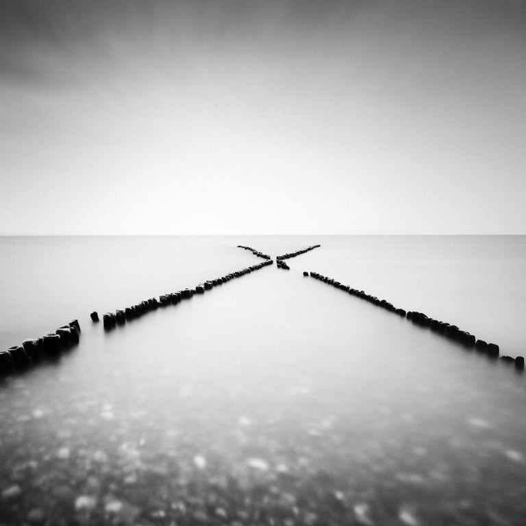 Gerald Berghammer, Ina Forstinger Landscape Photograph - X - Factor, Sylt, Germany, minimalist black and white photography, landscapes