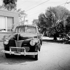 1941 Ford Super Deluxe Business Coupe, USA, black & white photography, landscape