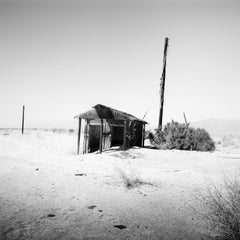 Abandoned Hut, desert, California, USA, black and white photography, landscape