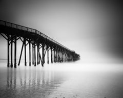 Black Hood Pier, Beach, California, USA, black and white photography, landscapes