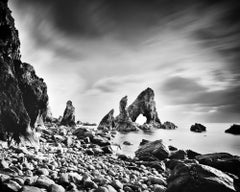 Crohy Sea Arch, Rocky Beach, Ireland, black and white photography, landscape